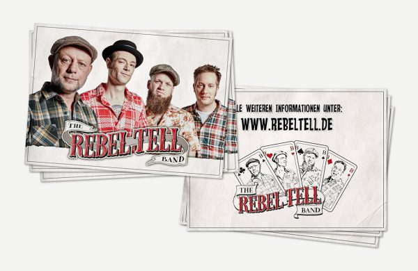 Autogrammkarten der Rebel Tell Band